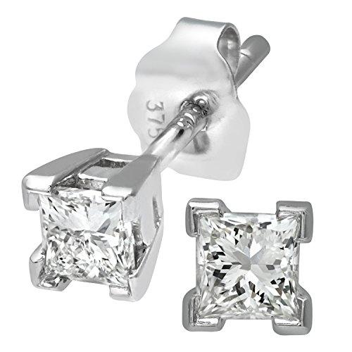 Revoni Bague en or blanc 9carats-Mesdames Diamant coupe princesse 0,33carats Solitare Mesdames Boucles d'oreilles