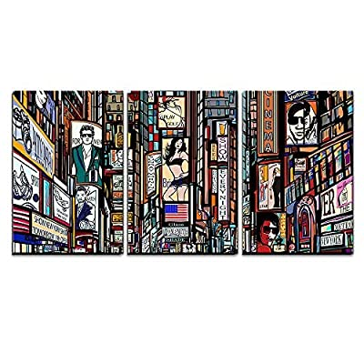 Charming Composition, Illustration of a Street in New York City x3 Panels, Made to Last