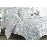 Laura Ashley 207059 Blue Reversible Quilt Set, Full/Queen, Floral, Mia