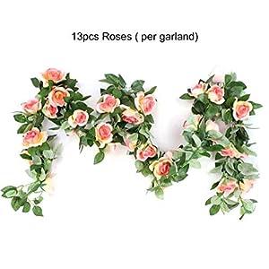 Susanda Artificial Rose Flower Vine,Artificial Flower Fake Rose Vine Green Leaf Hanging Vine Garland for Wedding Party Home Garden Wall Decoration 96