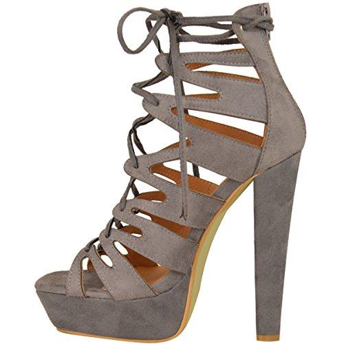Imitation Sandales Spartiates Thirsty Daim Plate Cheville Chaussures Neuf Haut Bottines Fashion Forme Lacet Talon Gris de Womens Pointure Mesdames FznqTwv