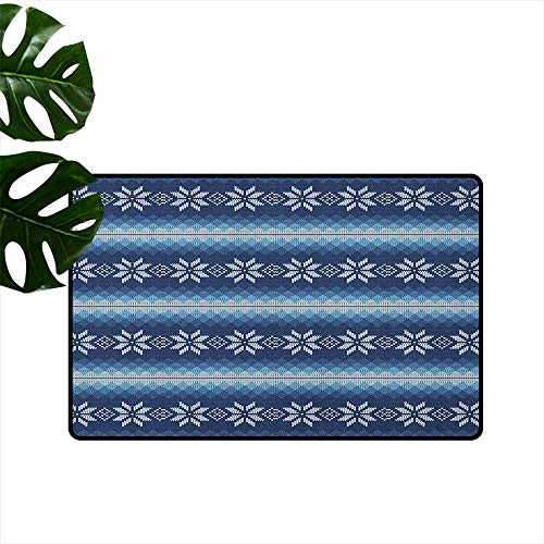 (Winter,Washable Entrance Doormat Traditional Scandinavian Needlework Inspired Pattern Jacquard Flakes Knitting Theme 18