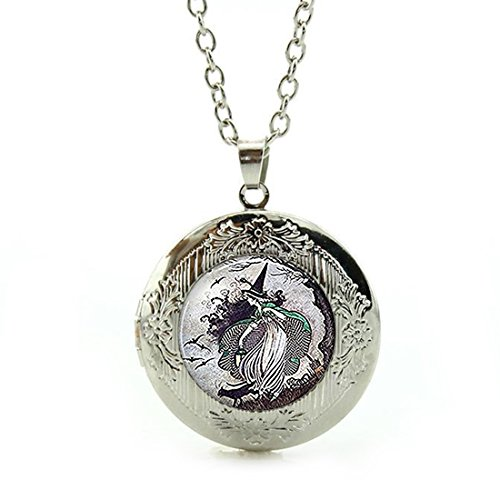 Women's Custom Locket Closure Pendant Necklace Fairytale Witch Resin Halloween Jewelry Included Free Silver Chain, Best Gift Set ()