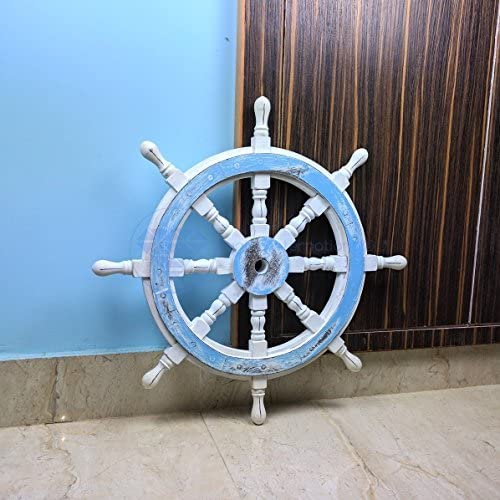 Nagina International Premium Decorative Hand Crafted Ocean Blue Antique White Nautical Ship Wheels Vintage Home Wall Decor 36 inches