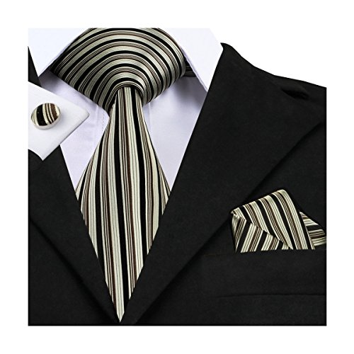 Hi-Tie Vertical stripes Necktie Tie Handkerchief Cufflinks set for Men