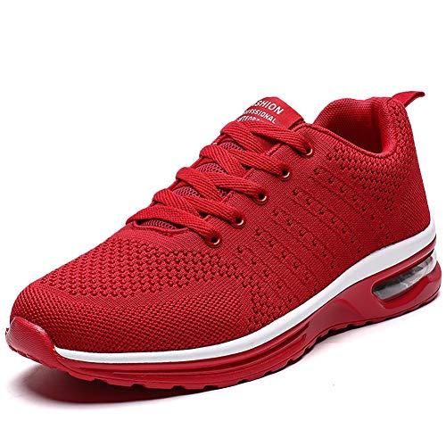 Women Tennis Shoes Lightweight for Ladies Work Gym Jogging Walking Running Athletic Air Cushion Fashion Sneakers (6.5, Red) (Best Walking Jogging Shoes For Women)