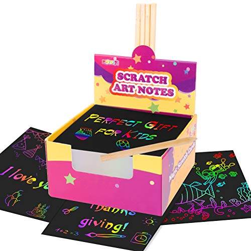 🥇 Pigipigi Scratch Art Notes for Kids – 125 Mini Rainbow Scratch Paper Sheets with 5 Styluses Magic Scratch Art Crafts Supplies Kit for Girls Boys Toys Games Party Favors Birthday