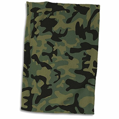 (3D Rose Dark Green Camo Print - Hunting Hunter Or Army Soldier Uniform Style Camouflage Woodland Pattern Towel, 15