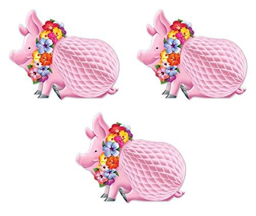 Beistle S55334AZ3, 3 Piece Luau Pig Centerpieces, 12''
