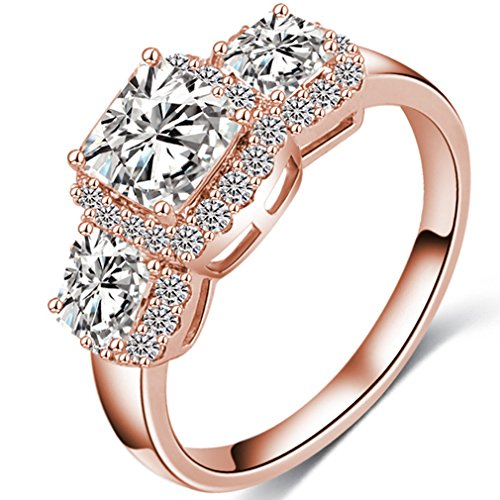 FENDINA Womens Wedding Engagement Rings Triple CZ Crystal Promise Rings for Her - 18K Rose Gold Plated & Created Emerald Cut -