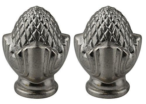 Urbanest Set of 2 Clara Lamp Finial, 1 7/16-inch Tall, Brushed Nickel by Urbanest