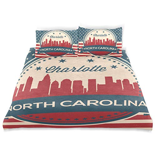 - Franzibla North Carolina State Charlotte Skyline Kids Bedding Duvet Cover Set,Twin Size 3 Piece Including 1 Duvet Cover and 2 Pillowcases