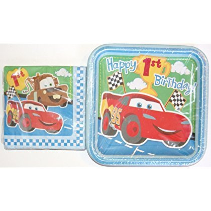Disney Cars 1st Birthday Party Supplies - Napkins and Plates (Cars First Birthday Party Supplies)