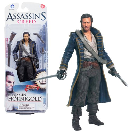 """McFarlane Toys Year 2013 Series 1 """"Assassin's Creed IV - Black Flag"""" 6 Inch Tall Action Figure - BENJAMIN HORNIGOLD with Flintlock Pistol, Rifle and Sword Plus Game Code to Unlock Hornigold's Sail (Code does not work on PS4 and XBox One)"""