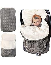 Babywikkeldeken voor pasgeborenen, dikke warme gebreide deken plus fluweel voor in de kinderwagen, baby, kind, kleinkind, fleece slaapzak, kinderwagen warp voor baby meisjes of -jongens