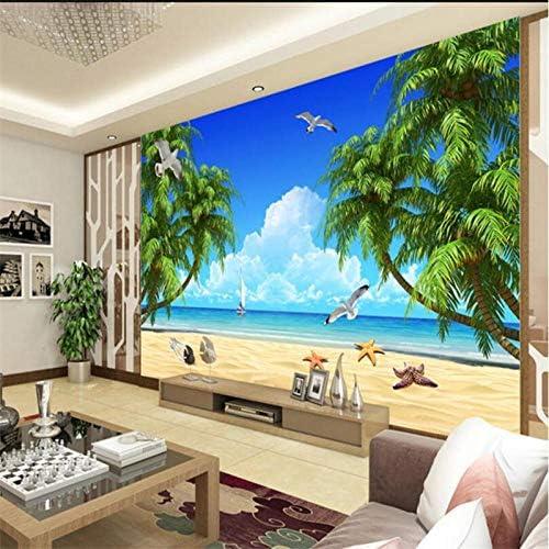 3dカスタム壁画壁紙HDビーチココナッツ風景テレビ壁寝室のリビングルームの壁の装飾-350x250cm