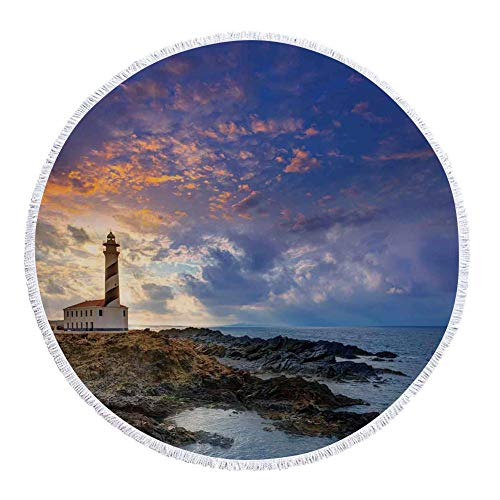 iPrint Thick Round Beach Towel Blanket,Lighthouse Decor,Cap de Favaritx Sunset Lighthouse Cape in Mahon at Balearic Islands of Spain Coast,Multi-Purpose Beach Throw by iPrint