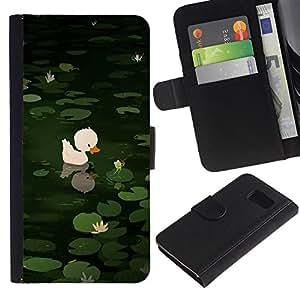 Paccase / Billetera de Cuero Caso del tirón Titular de la tarjeta Carcasa Funda para - Sweet Cute Pond Drawing Green Animal - Samsung Galaxy S6 SM-G920