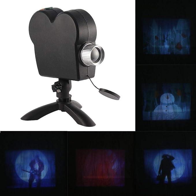 ZGHYBD Proyección holográfica de Halloween,- 12 películas programas Luces de proyección, Ventana Led proyector Luces al Aire Libre decoración del jardín: Amazon.es: Hogar
