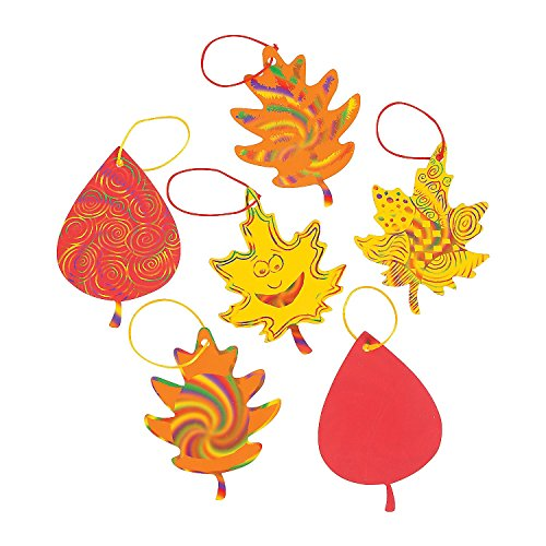 Colorful Magic Color Scratch Fall Leaves. (24 Leaves, 12 Scratching Tools and 24 Satin Cords Per Unit) -