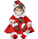 Reborn Baby Dolls Girl Christmas Gifts Santa Baby 18 inch with Christmas Dress Christmas Lifelike Newborn Baby Doll with Clothes Reborn Babies Xmas Present