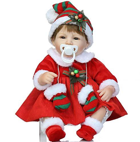 Christmas Santa Reborn Baby Dolls Girl 18 inch with Christmas Dress Christmas Reborn Doll with Clothes Reborn Babies Magnetic Mouth