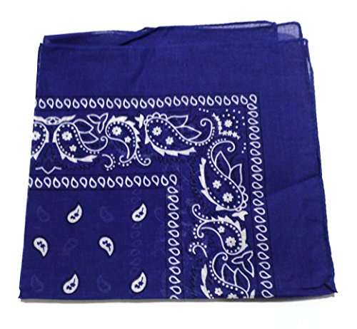ComboCube 12 Pack(one dozen) Multi-Purpose novelty Blue Cotton Paisley Cowboy Bandanas Headband for Men,Women and Child -