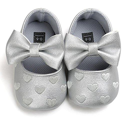 Tefamore Zapatos Zapatillas de deporte de los de Cuero del Bowknot Gráficos De Amor del niño del bebé De suaves antirresbaladizos Gris