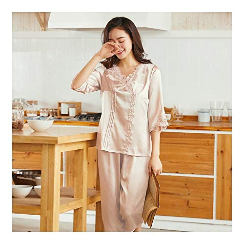 Haoliequan Pantaloni Pajamas Sleepwear Lingerie Beige Summer Nightwear Femme Set Tops Donna Silk Nighties r0gw0