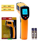 Infrared Thermometer, Non-Contact Digital Laser Temperature Gun, Instant-Read -58°F to 716°F (-50~380℃), LCD Display with Backlight for Kitchen Cooking BBQ Automotive Industrial (Batteries Included)
