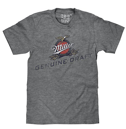 Tee Luv Miller Beer T-Shirt - Miller Genuine Draft Logo Shirt (XX-Large) Charcoal Heather