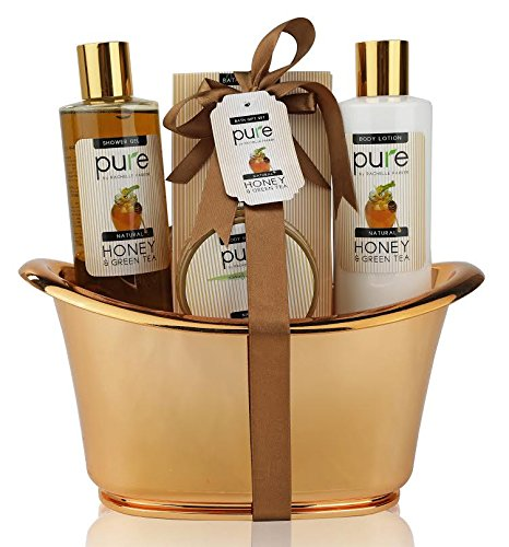 Honey & Green Tea Exclusive Spa Gift Basket for Natural Skin- Body Hydration & Rejuvenation! Ideal Holiday Gift for Every Girl ( & Boy!)