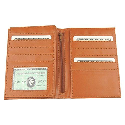 NB24 Versand Geldbörse, große Brieftasche (12491) für Damen und Herren, PU-Leder, hellbraun, La Luciana