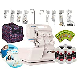 Juki Pearl Line MO-654DE 2/3/4 Thread Serger with BONUS I WANT IT ALL PACKAGE! Includes: 8 Piece Foot Kit, Serger Tote, 8 Thread Cones, 50 Needles, Electronic Workbook, Instructional DVD!