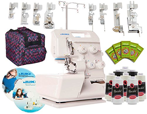 (Juki Pearl Line MO-654DE 2/3/4 Thread Serger with BONUS I WANT IT ALL PACKAGE! Includes: 8 Piece Foot Kit, Serger Tote, 8 Thread Cones, 50 Needles, Electronic Workbook, Instructional DVD! )