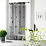 Douceur DInt??rieur - 1623710, Net Curtain With Eyelets , 140 X 240 Cm , Hanna , Embroidered Sable Voile , Grey by DOUCEUR DINTERIEUR