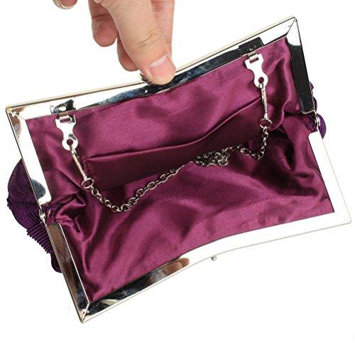 sicai Womens noche embrague bolsas boda novia trenzado Rhinestone bolso de mano bolso de mano morado