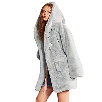 ZHRUI Abrigo de Piel de imitación con Capucha de Invierno Super Lindo para Mujer Abrigo Largo