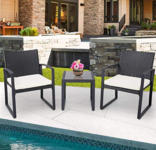 Crownland 3 Piece Patio Furniture Sets Black Wicker Outdoor Patio Funiture Bistro Set Rattan Conversation Furniture with Coffee Table for Backyard Porch Poolside Lawn Black