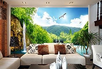 Yosot 3d Tapete Landschaft Wasserfall Holzbrucke 3d Landschaft