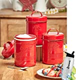 Gift Included- Country Kitchen Set Of 3 Antique Look Vintage Metal ''Tea'', ''Sugar'' ''Coffee'' Canisters + FREE Bonus Water Bottle by Homecricket (Red)
