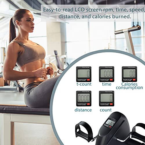 Under Desk Bike Pedal Exerciser Mini Foot Cycle Bike for Arm & Leg Exercise with LCD Display and Adjustable Resistance Desk Cycle Workout Office Home Women Men Seniors(Black)