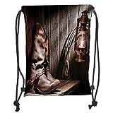 Custom Printed Drawstring Sack Backpacks Bags,Western Decor,Dallas Cowboys and Lantern on a Bench in Vintage Ranch Nostalgic Folkloric Print,Brown Soft Satin,5 Liter Capacity,Adjustable String Closure