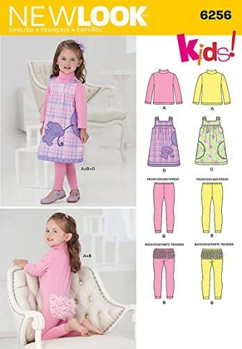 Simplicity Creative Patterns New Look 6256 Toddlers Jumper and Knit Top and Leggings Patterns 1//2-1-2-3-4 A by Simplicity Creative Inc