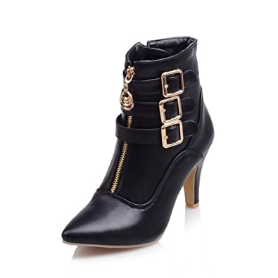 Womens Studded Rhinestones Metal Buckles Zipper Wheeled Heel Shoes Imitated Leather Boots