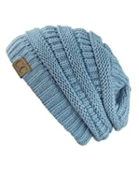 Trendy Warm Chunky Soft Stretch Cable Knit Beanie Skully, Denim