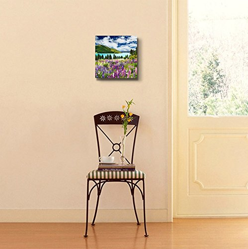Beautiful Scenery Landscape of Mountain and Lake with Colorful Flowers Wall Decor