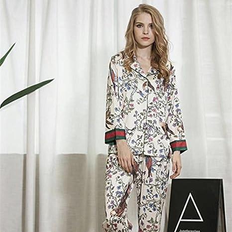 XBR-Pijamas de Seda Seda Pijamas Dos Piezas de Fina Seda ...