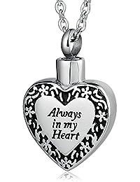 Men Women Stainless Steel Heart Shaped Locket Urn Necklace for Ash Always in My Heart