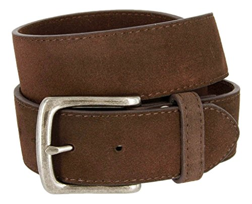 Casual Jean Suede Leather Belt for Men (Brown, 34)